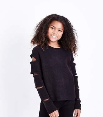 New Look Teens Black Cut Out Sleeve Jumper