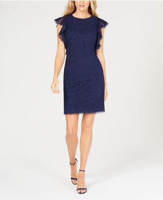 Vince Camuto Flutter-Sleeve Lace Sheath Dress