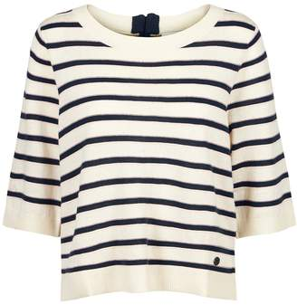 Nümph Striped 3/4 Length Sleeve Jumper with Back Zip
