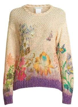 Etro Women's Degrade Floral Nubby Knit Sweater - Size 42 (6)