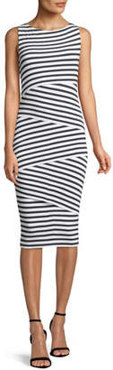 Bailey 44 Sleeveless Layered-Stripe Fitted Column Dress