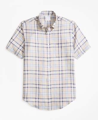 Brooks Brothers Regent Fit Tartan Irish Linen Short-Sleeve Sport Shirt