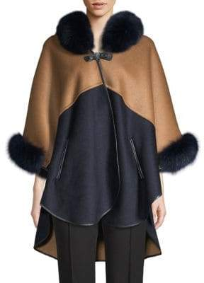 Made For Generation Two-Tone Fox Fur-Trimmed Cape