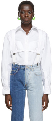 Pushbutton White High Neck Suspenders Blouse