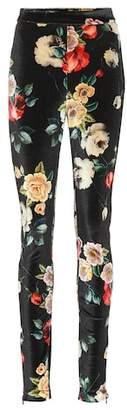 ATTICO Floral-printed velvet pants