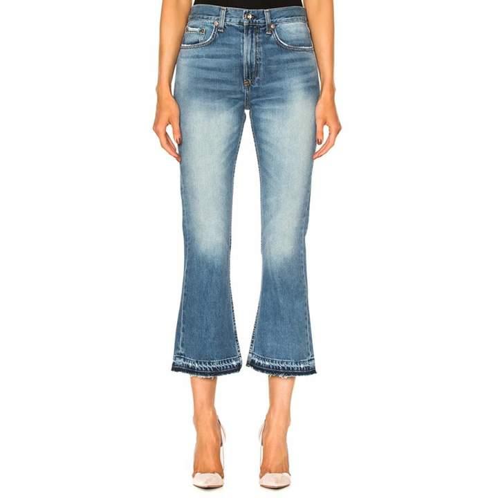 Women's Blue Vintage Crop Flare Cotton Jeans