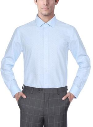 Verno Fashion Big Mens Printed Bow Tie Classic Fit Long Sleeve Light Blue Dress Shirt