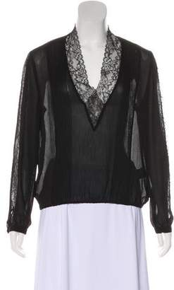 Alice + Olivia Long Sleeve Sheer Blouse