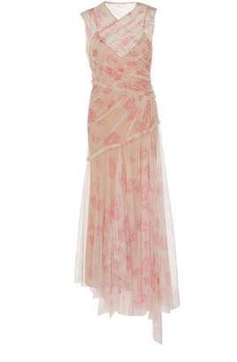 Jason Wu Collection Printed Tulle Cotton-Blend Dress