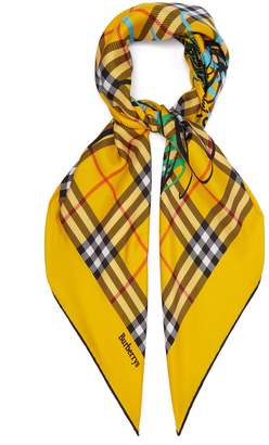 Burberry Vintage check scribble-printed silk square scarf