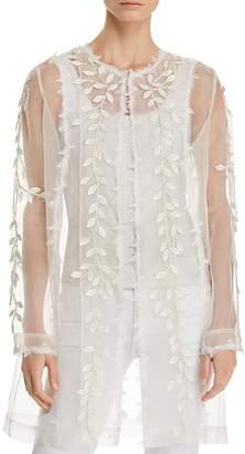 Elie Tahari Jaya Sheer Embellished-Silk Duster
