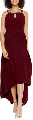 Scarlett Sleeveless Beaded Neck High Low Evening Gown