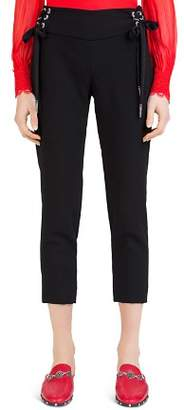 The Kooples Daisy Crepe Cropped Lace-Up Pants