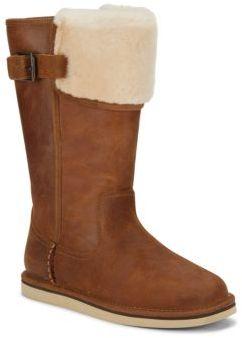 Wilowe Leather Sheepskin Cuff Boots $280 thestylecure.com