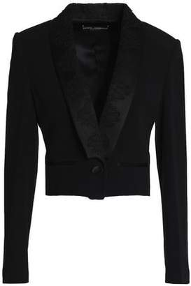 Dolce & Gabbana Cropped Satin And Lace-Trimmed Crepe Jacket