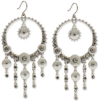 Lucky Brand Silver-Tone Pave Disc Statement Earrings