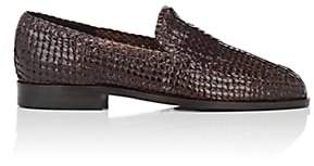 Barneys New York Men's Woven Leather Loafers - Dk. brown