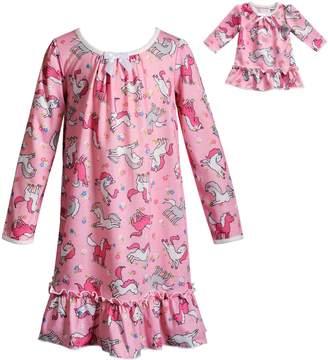 Dollie & Me Girls 4-14 Unicorn Ruffled Nightgown & Matching Doll Nightgown