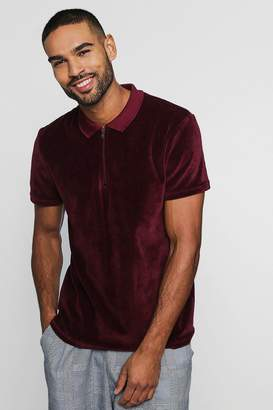 boohoo Velour Polo With Zip Placket