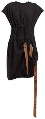 Natasha Zinko Ruched Waist Logo Tape T Shirt Dress - Womens - Black