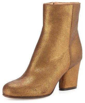 Maison Margiela Metallic Suede 70mm Ankle Boot, Bronze $935 thestylecure.com