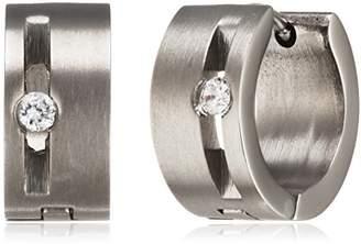 PURE Grey Titanium Women's Creole Earrings with Clear CZ of brilliant matt - 23452