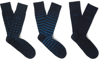 Hugo Boss Three-Pack Patterned Cotton-Blend Socks $34 thestylecure.com