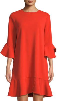 Label By Five Twelve 3/4-Sleeve Ruffle-Trim Shift Dress