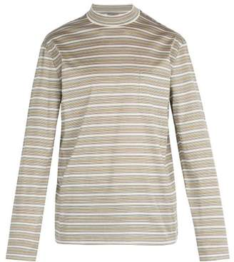 Lanvin - High Neck Long Sleeved Cotton T Shirt - Mens - Multi