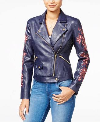 GUESS Marvi Embroidered Faux-Leather Moto Jacket $138 thestylecure.com
