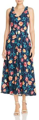Betsey Johnson Floral Print Shoulder-Tie Midi Dress