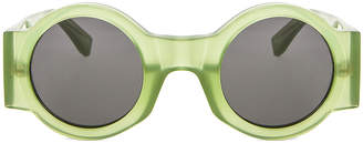 Dries Van Noten Round Thick Sunglasses in Green & Silver | FWRD