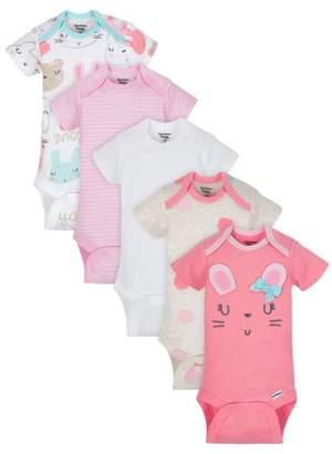 Gerber Organic Cotton Short Sleeve Onesies Bodysuits, 5pk (Baby Girls)