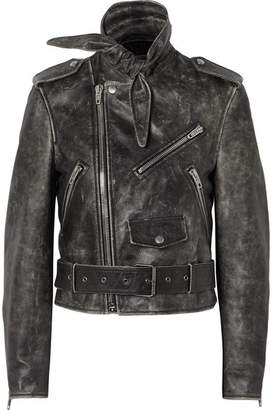 Balenciaga Scarf Distressed Leather Biker Jacket - Black