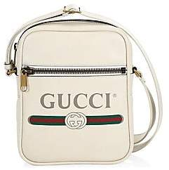 93d3d13171bcb7 Gucci Men's Logo Print Leather Shoulder Bag