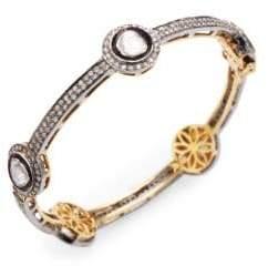 Silver & Rose-Cut Diamond Bangle Bracelet