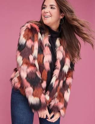 Lane Bryant Multi-Color Faux Fur Coat