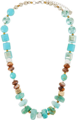 Nakamol Stone & Crystal Chunky Necklace, Blue/Brown