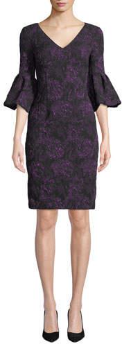Aidan Mattox V-Neck Rose-Thread Bell-Sleeve Dress
