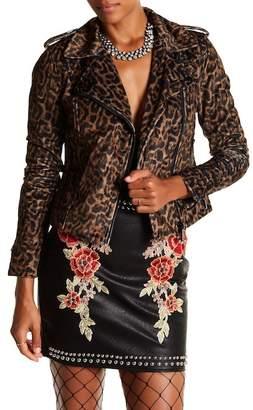 Romeo & Juliet Couture Leopard Moto Jacket