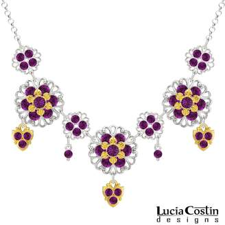 Swarovski .925 Sterling Silver with 24K Yellow Gold Plated over .925 Sterling Silver Necklace by Lucia Costin with Lace-Like Elements and Crystals, Adorned with Dangle Stones; Handmade in USA
