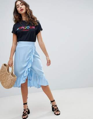 New Look Ruffle Wrap Midi Skirt