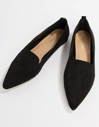 Miss Selfridge pointed loafers in black