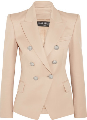 Balmain - Double-breasted Wool Blazer - Beige $1,790 thestylecure.com