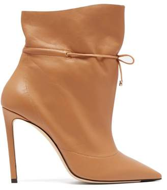 Jimmy Choo Stitch 100 Drawstring Leather Ankle Boots - Womens - Tan