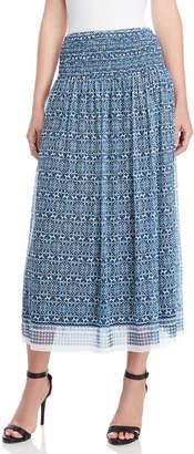 Max Studio Printed Mesh Maxi Skirt