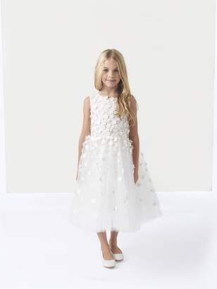 Oscar de la Renta Organza Sunburst Embroidery Flower Girl Dress