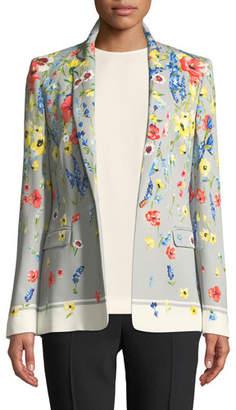 Escada Notched-Collar One-Button Floral-Print Blazer