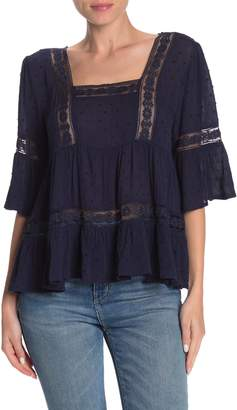 Basil Lola Elbow Length Sleeve Lace Inset Top