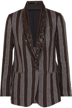Brunello Cucinelli Sequin-embellished Striped Linen Blazer - Black